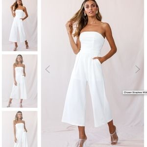 white strapless cropped jumpsuit